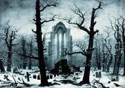 Caspar David Friedrich: Klosterfriedhof im Schnee, via Wikimedia Commons